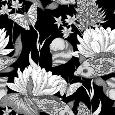 pond water: Vintage monochrome pond water flowers vector seamless pattern, Botanical shabby chic illustration lily, carp, snail leaves and twigs Floral design elements. Illustration