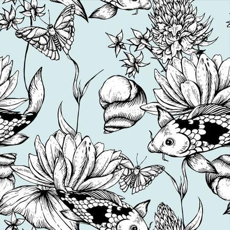 ビンテージ白黒池水花ベクターのシームレスなパターン、ボタニカルぼろぼろのシックなイラスト リリー、鯉、カタツムリ葉と枝花のデザイン要素  イラスト・ベクター素材