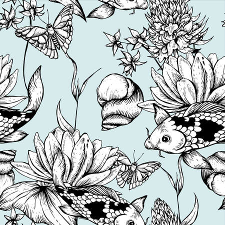 Vintage monochrome pond water flowers vector seamless pattern, Botanical shabby chic illustration lily, carp, snail leaves and twigs Floral design elements. Ilustração