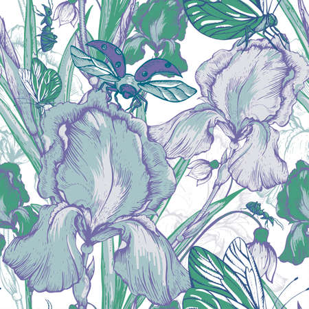 purple irises: Vintage garden flowers vector seamless pattern, Botanical shabby chic illustration iris, ant, butterfly, ladybird wildflowers  leaves and twigs  Floral design elements.