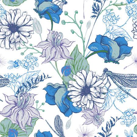 빈티지 정원 꽃 벡터 원활한 패턴, 식물은 세련된 그림 야생 꽃, 잠자리, 꿀벌, 무당 벌레, 데이지 나뭇잎과 나뭇 가지 꽃 디자인 요소 초라한.