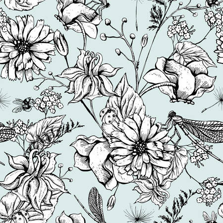 Vintage monochrome garden flowers vector seamless pattern, Botanical shabby chic illustration wild flowers, dragonflies, bees, ladybird, daisies leaves and twigs Floral design elements. Vettoriali
