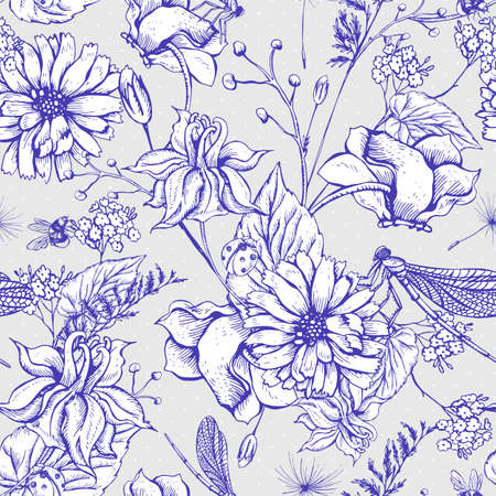 flower sketch: Vintage monochrome garden flowers vector seamless pattern, Botanical shabby chic illustration wild flowers, dragonflies, bees, ladybird, daisies leaves and twigs Floral design elements. Illustration
