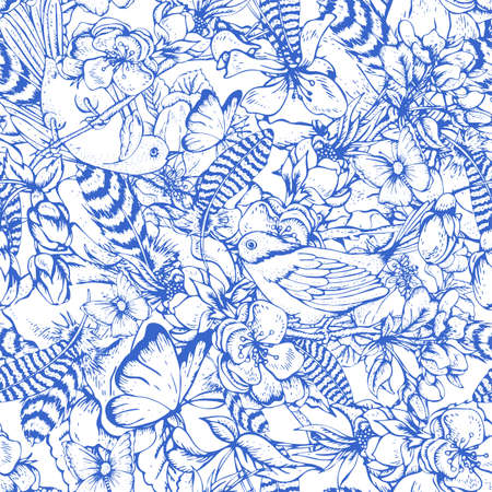 female animal: Blue vintage garden spring seamless pattern. Flowers blooming branches of cherry, apple trees, peach birds, feathers and butterflies, Vector botanical illustration.