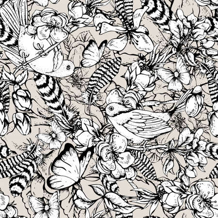Black and white vintage garden spring seamless pattern. Flowers blooming branches of cherry, apple trees, peach birds, feathers and butterflies, Vector botanical illustration.