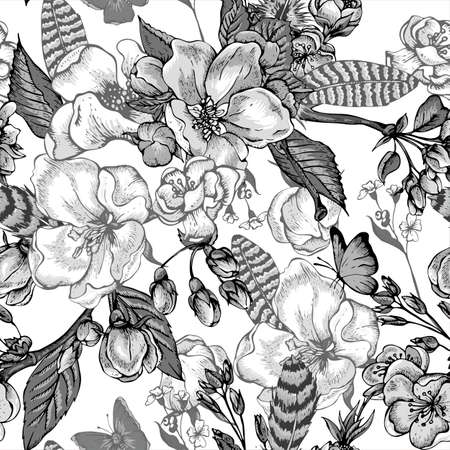Black and white vintage garden spring seamless pattern. Flowers blooming branches of cherry, apple trees, peach, feathers and butterflies, Vector botanical illustration.