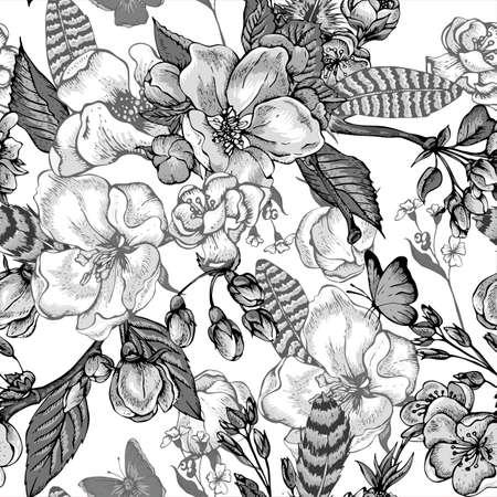 Zwart en wit vintage tuin lente naadloos patroon. Bloemen bloeiende takken van kersen, appelbomen, perzik, veren en vlinders, Vector botanische illustratie.