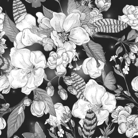 flower sketch: Black and white vintage garden spring seamless pattern. Flowers blooming branches of cherry, apple trees, peach, feathers and butterflies, Vector botanical illustration.