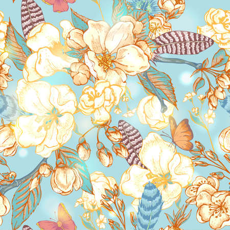 Vintage garden spring seamless pattern. Pink flowers blooming branches of cherry, apple trees, peach, feathers and butterflies, Vector botanical illustration.