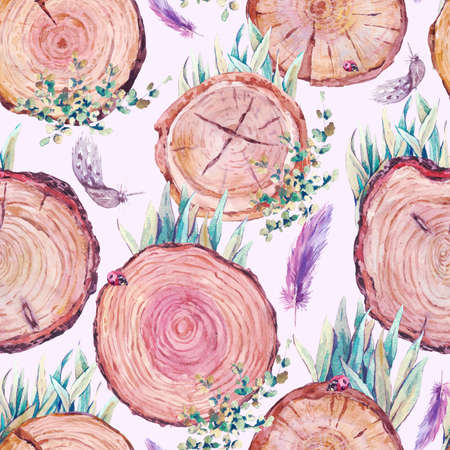 stumps: Watercolor natural wood seamless background with stumps, tree cuts, logs grass feathers ladybird, ecology illustration