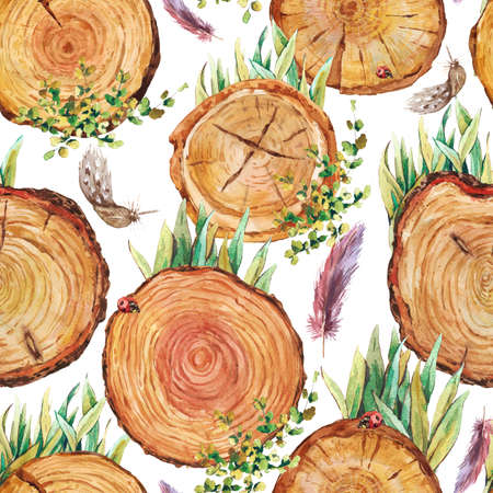 ladybird: Watercolor natural wood seamless background with stumps, tree cuts, logs grass feathers ladybird, ecology illustration