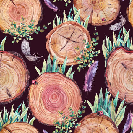 log on: Watercolor natural wood seamless background with stumps, tree cuts, logs grass feathers ladybird, ecology illustration