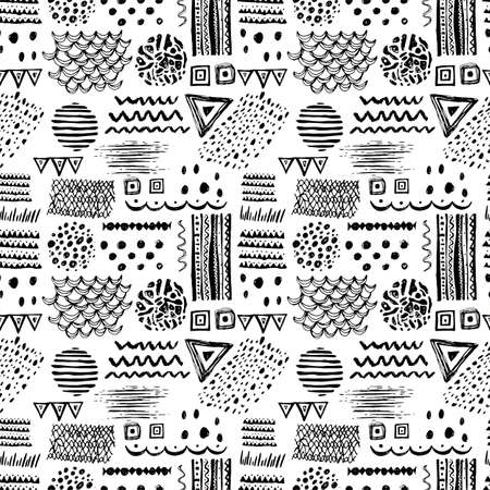 motif: Abstract black and white seamless pattern with hand drawn ethnic motifs, zigzags, stripes, triangles and spots. Vector illustration