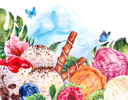 Tropical hand painting summer watercolor natural eco food background with balls of ice cream and berries, exotic greeting card Stock Photo