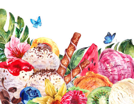 sorbet: Tropical Natural Healthy Food Eco Banner with Balls of Ice Cream, Watermelon, Apricot, Kiwi, Vanilla and Berries, Exotic Menu Card Stock Photo