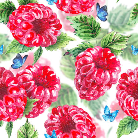 Hand painting summer watercolor raspberries, nature eco seamless background on white. Botanical berries pattern