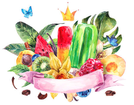 summer fruits: Tropical hand painting summer watercolor natural eco food background with ribbon, crown, fruits, ice cream and berries, exotic greeting card