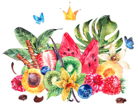 chocolate mint: Tropical Watercolor Natural Healthy Food Eco Banner with Crown, Watermelon, Apricot, Kiwi, Vanilla and Berries, Exotic Menu Fruits Card