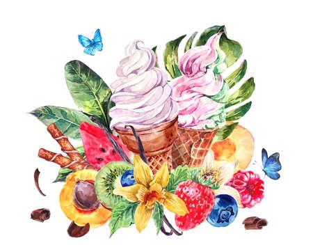 Tropical peinture à la main aquarelle d'été éco naturel nourriture fond avec des fruits, doux crème glacée italienne de fruits, exotique carte de voeux