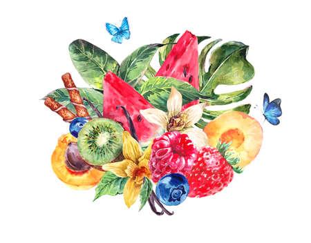 Healthy Food Eco Banner tropicale Acquerello naturale con anguria, albicocche, kiwi, vaniglia e frutti di bosco, frutta esotiche Menu scheda