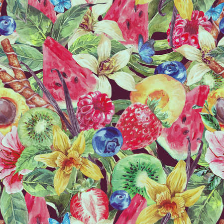 frutas tropicales: Fondo tropical de la acuarela Seamless natural sano de la sandía, albaricoque, kiwi, la vainilla y bayas, lamentable de la vendimia Tarjeta de frutas exóticas Menú