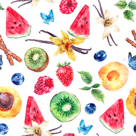 fruit background: Tropical  Seamless Watercolor Pattern Natural Healthy Food Eco Pattern with Watermelon, Apricot, Kiwi, Vanilla and Berries, Exotic Menu Fruit Card on white background