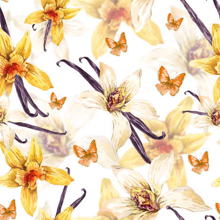 Tropical  seamless watercolor floral pattern, flowers white and yellow orchid, orchid vanilla, butterfly, botanical flower illustration on white Standard-Bild