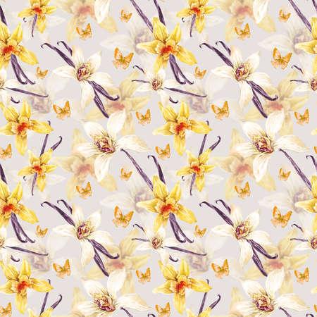 Tropical acuarela transparente estampado de flores, flores blancas y amarillas de la orquídea, orquídea vainilla, mariposa, flor botánica ilustración