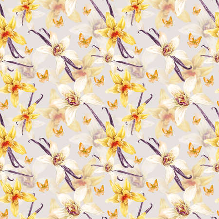 flower pattern: Tropical  seamless watercolor floral pattern, flowers white and yellow orchid, orchid vanilla, butterfly, botanical flower illustration