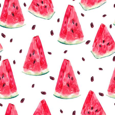 Exotische zomer aquarel naadloze patroon met plakken watermeloen, natuurlijke illustratie op witte achtergrond