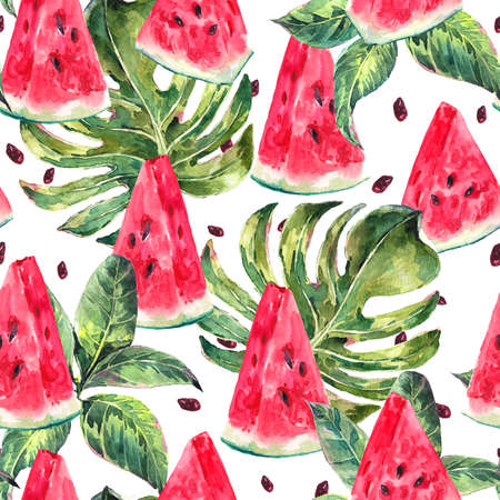Exotic summer watercolor seamless pattern with tropical leaves, slices of watermelon, natural illustration on white background Stock Photo