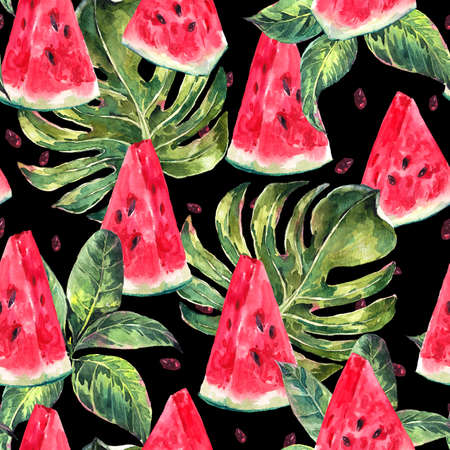 Exotic summer watercolor seamless pattern with tropical leaves, slices of watermelon, natural illustration on black background