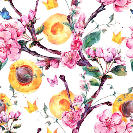 apricot tree: Natural spring watercolor seamless pattern with fruits and flowers apricot tree branches, isolated decorative botanical illustration with flowers, crown, butterflies