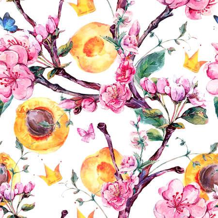 Naturel aquarelle printemps seamless avec des branches d'arbres fruits et de fleurs d'abricot, isolé illustration botanique décoratif avec des fleurs, la couronne, les papillons