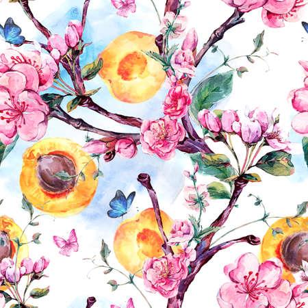 Modelo inconsútil de la acuarela manantial de las ramas de los árboles de albaricoque frutas y flores, ilustración botánica decorativa aislada con flores y mariposas Foto de archivo