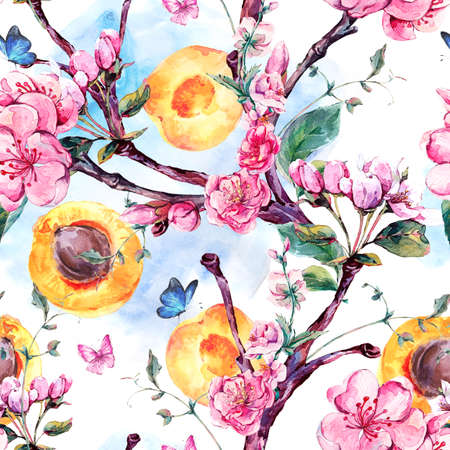 japanese apricot: Natural spring watercolor seamless pattern with fruits and flowers apricot tree branches, isolated decorative botanical illustration with flowers, and butterflies