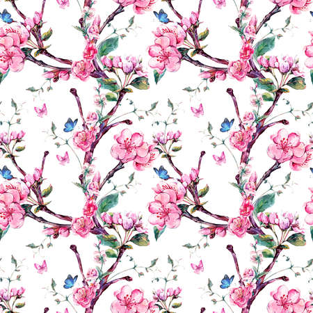 japanese apricot: Natural spring watercolor seamless pattern with flowers apricot tree branches, isolated decorative botanical illustration with flowers, and butterflies Stock Photo