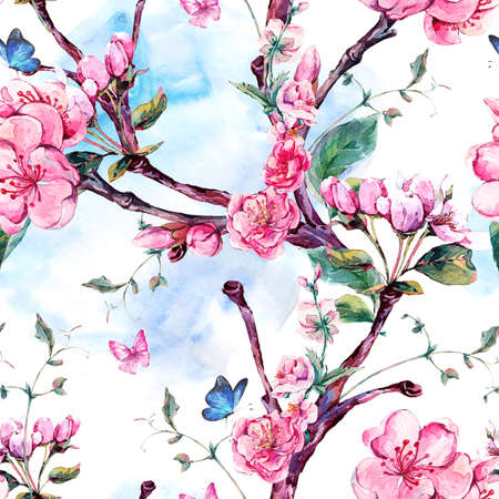 Spring nature watercolor seamless pattern with flowers apricot tree branches, isolated decorative botanical illustration with flower, and butterflies