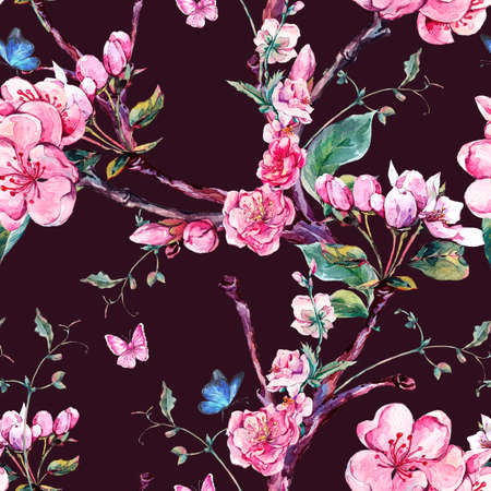 apricot tree: Natural spring watercolor seamless pattern with flowers apricot tree branches, isolated decorative botanical illustration with flowers, and butterflies on black