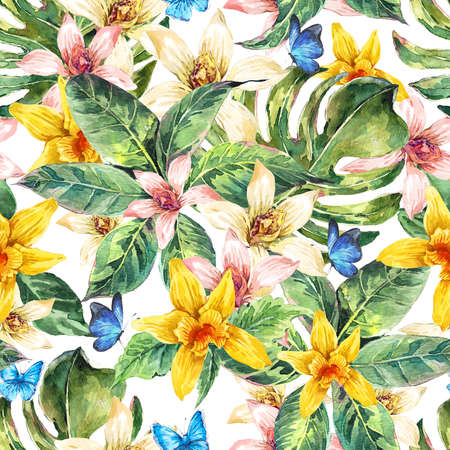 orchid tree: Natural floral leaves exotic watercolor seamless pattern, white and yellow flower orchid, green tropical leaves, botanical summer illustration on white background