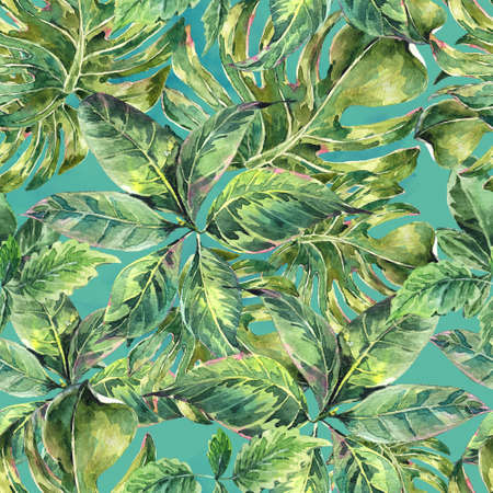foliage: Summer leaves exotic watercolor seamless pattern, green tropical leaves, botanical natural illustration