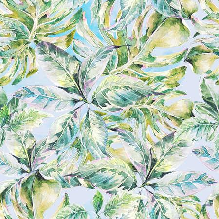 夏葉エキゾチックな水彩画のシームレスなパターン、熱帯の緑の葉、植物の自然のイラスト