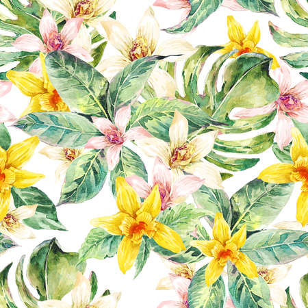 Natural floral leaves exotic watercolor seamless pattern, white and yellow flower orchid, green tropical leaves, botanical summer illustration on white background