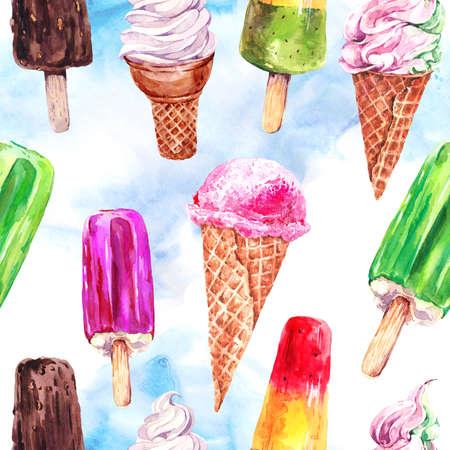 水彩のアイスクリームのシームレスなパターン、夏のイラスト、フルーツ アイス クリーム、チョコレート、柔らかいイタリアのフルーツ アイス ク