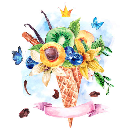 fruity: Summer hand drawing watercolor greeting card with a fruity cocktail in waffle cone, crown and ribbon, flowers natural illustration, Berries in waffle cones Stock Photo