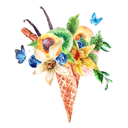 fruity: Summer hand drawing watercolor greeting card with a fruity cocktail in waffle cone, flowers natural isolated illustration, Berries in waffle cones
