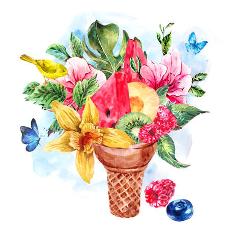 fruity: Summer hand drawing watercolor greeting card with a fruity cocktail in waffle cone, flowers isolated natural illustration, Berries, bird in waffle cones Stock Photo