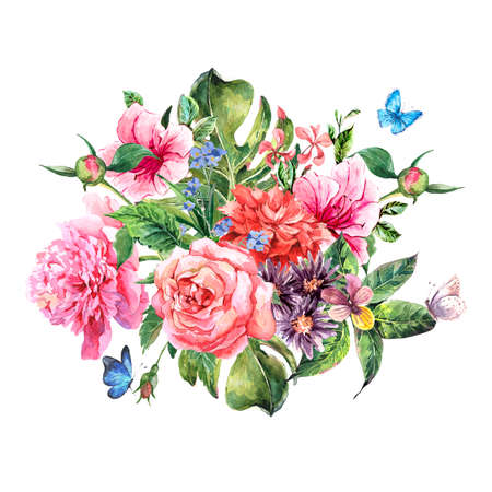 flower blooming: Summer hand drawing watercolor floral greeting card with blooming flowers peonies, roses, daisies, flower buds, violet,  butterfly, decoration flowers natural illustration