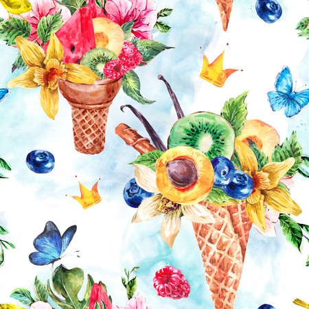 berries: Summer hand drawing watercolor seamless pattern with a fruity cocktail in waffle cone, crown, flowers natural illustration, Berries in waffle cones pattern