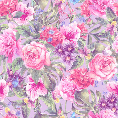 Summer pink hand drawing watercolor floral seamless pattern with blooming flowers peonies, roses, daisies, flower buds, violet,  butterfly, decoration flowers natural illustration